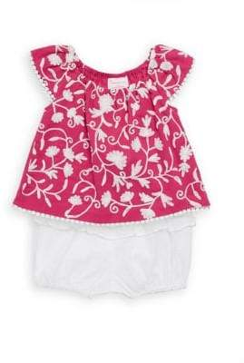 Baby Girl's Two-Piece Floral Top & Ruffled Bottom Cotton Set