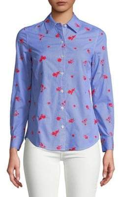 Lord & Taylor Petite Embroidered Floral Cotton Button-Down Shirt