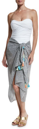 Seafolly Fine-Strap Tassel Linen Sarong, Black/White $81 thestylecure.com