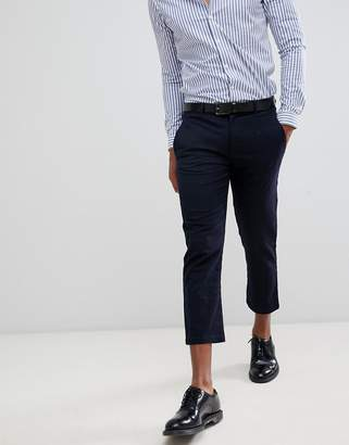 Celio cropped smart pants in windowpane check
