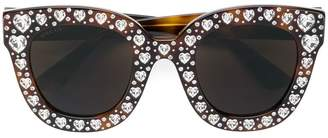 Gucci heart shaped embellished sunglasses