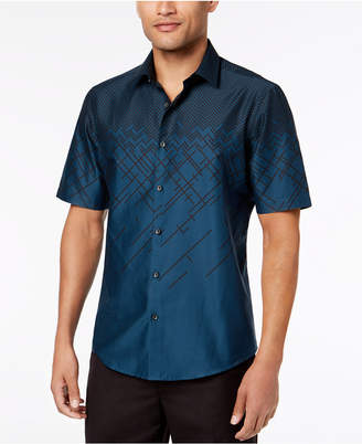 Alfani Men's Ombre Print Short Sleeve Shirt, Created for Macy's