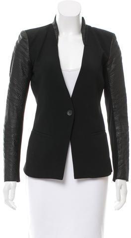 Helmut LangHelmut Lang Leather Trimmed- Silk Blazer