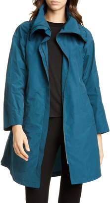 Eileen Fisher High Collar Cotton Blend Coat
