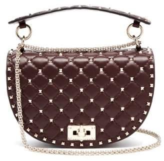 Valentino Rockstud Spike Saddle Leather Shoulder Bag - Womens - Burgundy