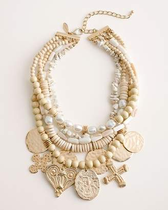 Chico's Chicos Beaded Neutral Charm Necklace