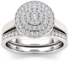 Imperial Star 1/4Ct TDW Diamond S925 Sterling Cluster Double Halo Bridal Set (I-J, I2)