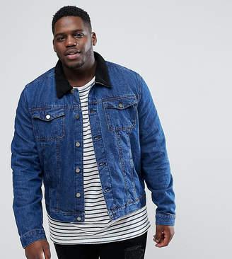 Another Influence PLUS Denim Jacket with Fleece Collar