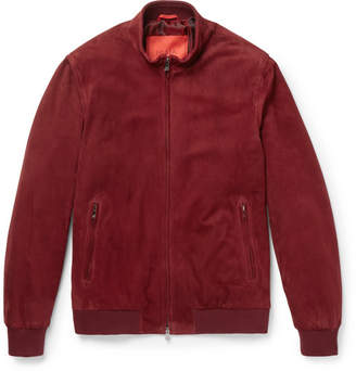 Isaia Slim-Fit Suede Bomber Jacket