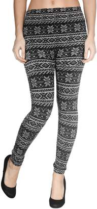 Simplicity Juniors' Winter Warm Snowflake Legging Stretchy Fleece Lined Pants Tights