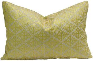 One Kings Lane Vintage Swati Neon Fleur De Lys Pillow