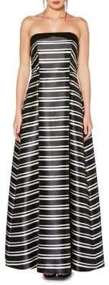 Laundry by Shelli Segal Striped Floor-Length Ball Gown