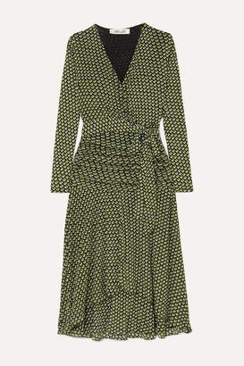 Diane von Furstenberg Rilynn Printed Stretch-jersey Wrap Dress - Army green