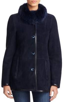 Maximilian Furs Fox Fur Collar Shearling Jacket