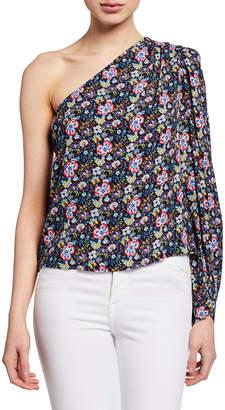 Frame One-Shoulder Floral-Print Top