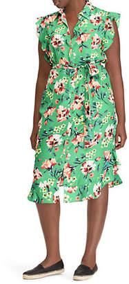 Lauren Ralph Lauren Plus Plus Floral Crepe Sleeveless Dress