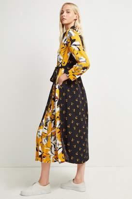 French Connenction Aventine Drape Maxi Shirt Dress