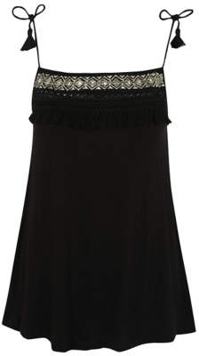 George Black Embroidered Swing Cami Top