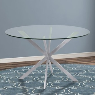 Armen Living Mystere Round Dining Table in Brushed Stainless Steel with Tempered Glass Top