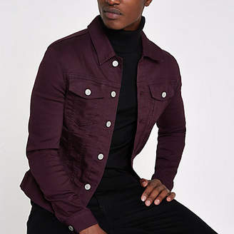 River Island Burgundy muscle fit denim jacket