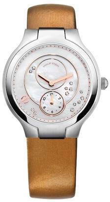 Philip Stein Teslar Women's Classic Small Round Calf Leather Strap Watch, 36mm