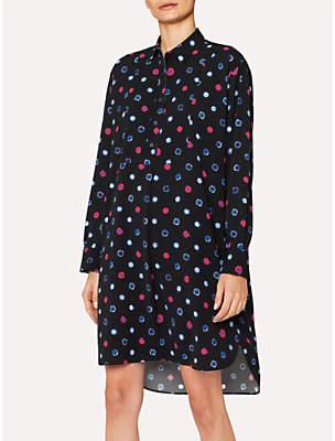Paul Smith Scribble Spot Print Shirt Dress, Black