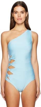 Carmen Marc Valvo Women's Classic Solids Shoulder One Piece Swimsuit