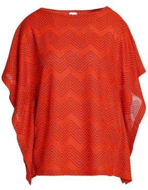 M Missoni Draped Metallic Crochet- Knit Top