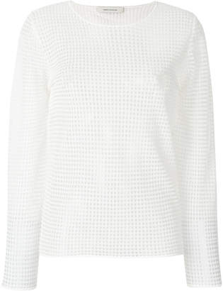 Cédric Charlier square stitched sheer blouse