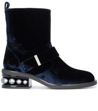 Nicholas Kirkwood Blue Velvet Casati Pearl Biker boots