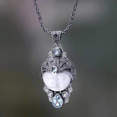 Carved Bone and Blue Topaz Silver Pendant Necklace, 'Dayang Sumbi'