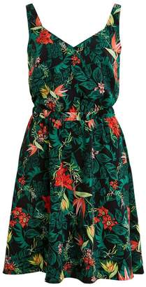Vila Vilaia Floral Print Flared Dress with Sweetheart Neck
