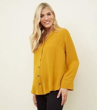 New Look Maternity Yellow Crepe Revere Collar Boxy Shirt
