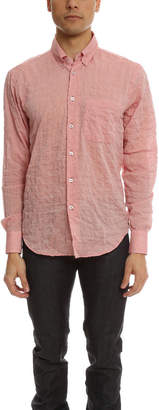 Naked & Famous Denim Slim Shirt Crinkle Horizontal Stripes