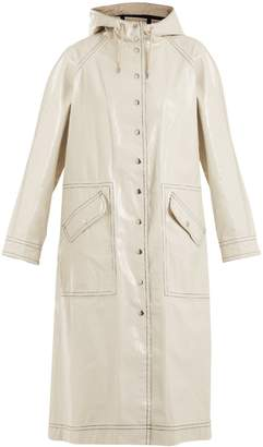 Contrast-stitching hooded cotton-blend raincoat