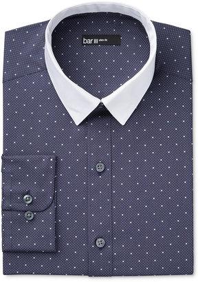 Bar III Men's Interchangeable Collar Slim Fit Navy Dot Dress Shirt, Only at Macy's $69.50 thestylecure.com