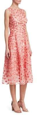 Teri Jon by Rickie Freeman Embossed Print Midi Dress