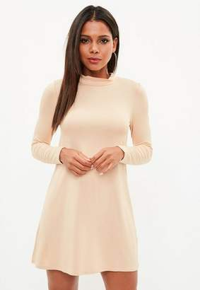 Missguided Nude Turtle Neck Long Sleeve Swing Dress
