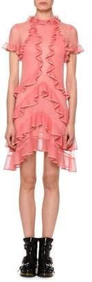 Alexander McQueen Short-Sleeve Fluid Ruffle On Lace Sheer Mini Dress