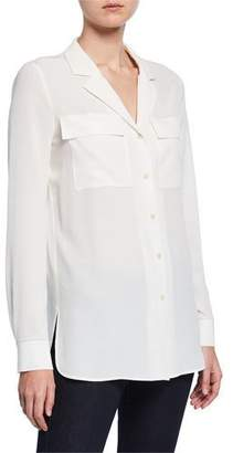 Lafayette 148 New York Maximina Sandwashed Button-Down Blouse with Notch Collar
