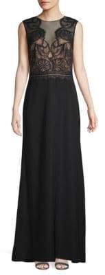Tadashi Shoji Lace Illusion A-Line Gown