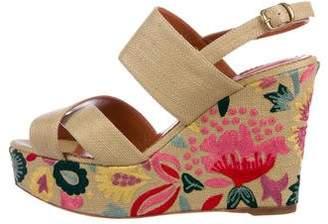 Oscar de la Renta Raffia Wedge Platform Sandals