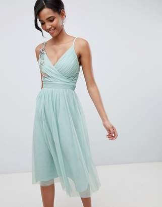 Little Mistress Floral Applique Midi Dress