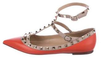 Valentino Leather Pointed-Toe Flats