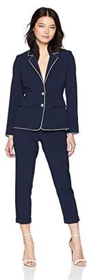 Tahari by Arthur S. Levine Women's Petite 2 Button Jacket with Turn UP Collar Pant Suit