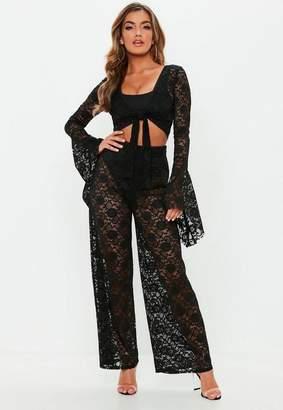 Missguided Black Wide Leg Lace Trousers, Black