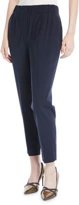 Brunello Cucinelli Lightweight Wool Pull-On Pants w/ Monili Trim