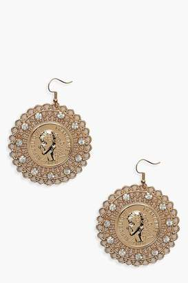 Boohoo Diamante Filigree Coin Earrings