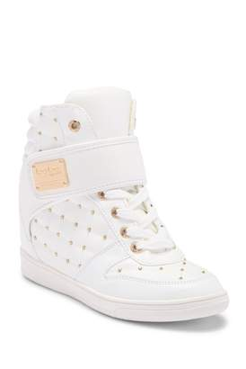 Bebe Studded Hi-Top Wedge Sneaker