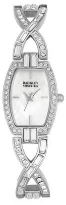 Badgley Mischka Women's Swarovski Crystal Accented Chain Link Bracelet Watch, 20mm